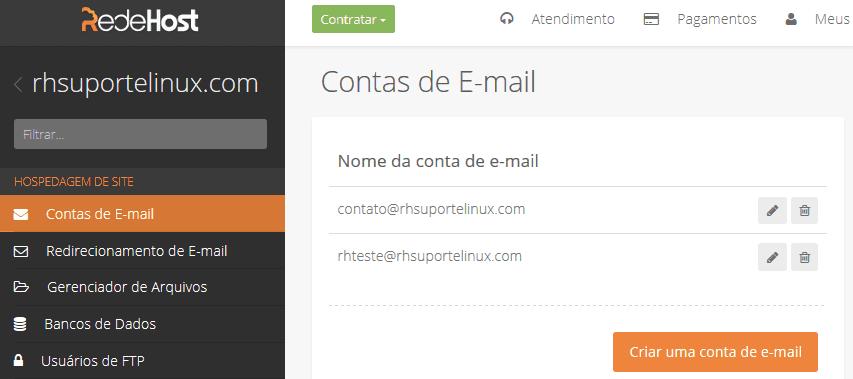 Clique em criar contas de e-mail